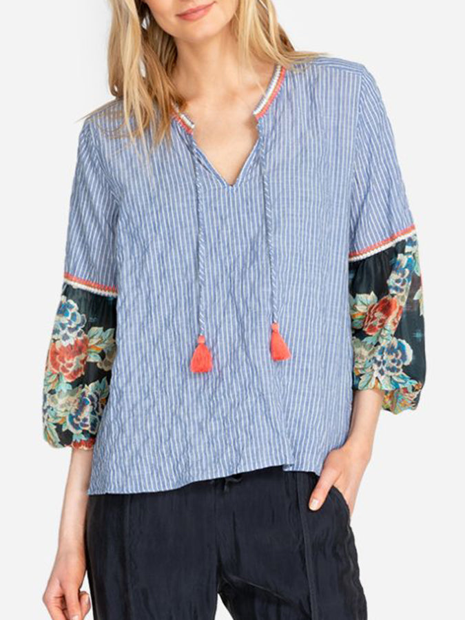 Blue Long Sleeve V Neck Embroidery Cotton Shirts & Tops