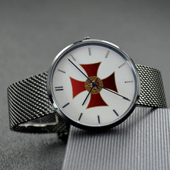 Knights Templar Quartz Watch With High Quality Stainless Steel Strap