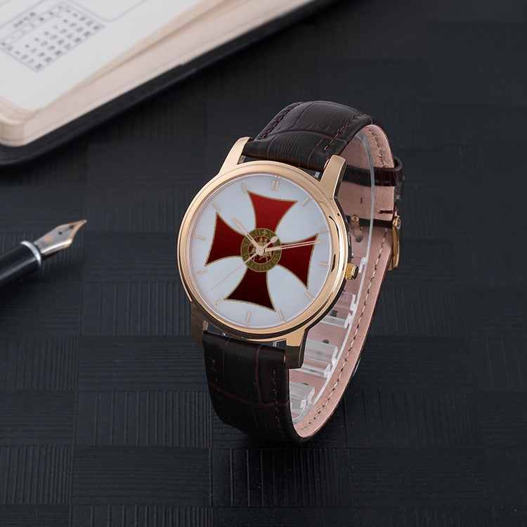 Knights Templar Quartz Watch With High Quality Brown Leather Strap