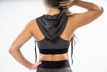 Load image into Gallery viewer, Charcoal - Hooded Sports Bra