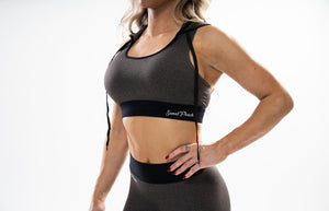 Charcoal - Hooded Sports Bra