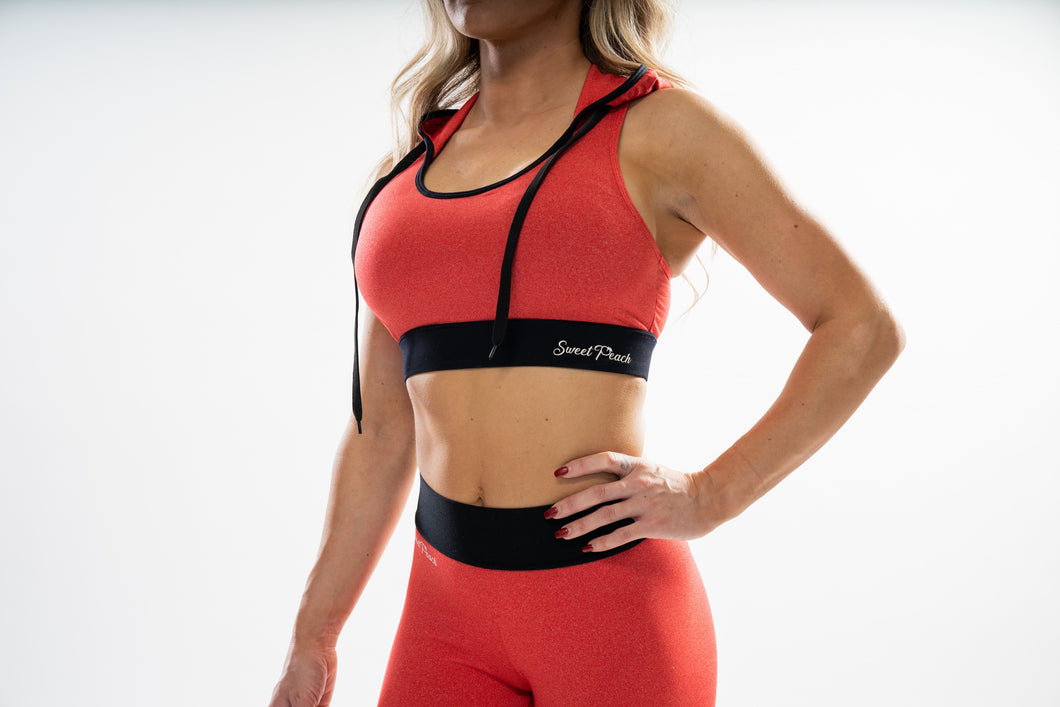 Red - Hooded Sports Bra