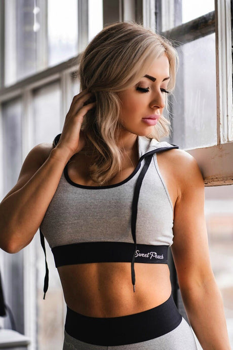 Light Grey - Hooded Sports Bra