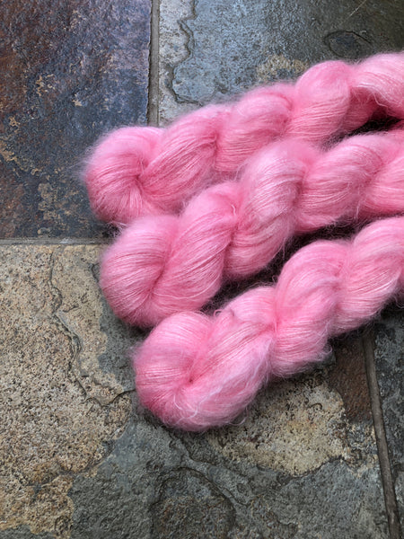 Flamingo - Hand dyed Mohair/Silk Lace
