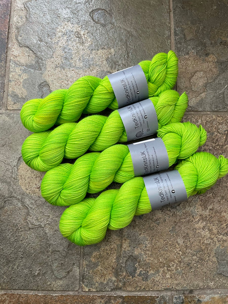 Sour Lime - Hand dyed merino/nylon fingering/sock weight yarn