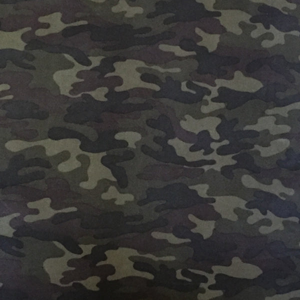 Camouflage Print Brushed Poly Spandex