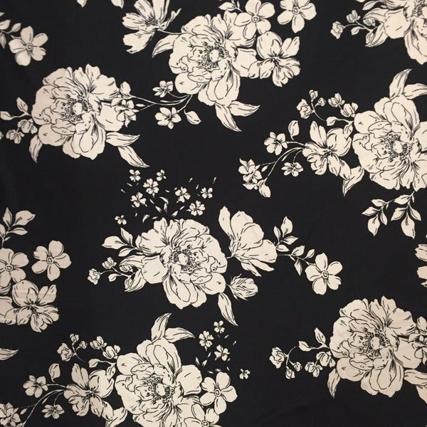 Black & White Floral Brushed Poly Spandex