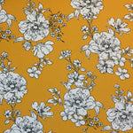 Mustard & White Floral Brushed Poly Spandex