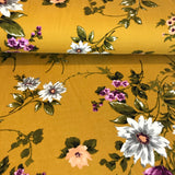 Floral Brushed Poly Spandex ~ Mustard/Purple