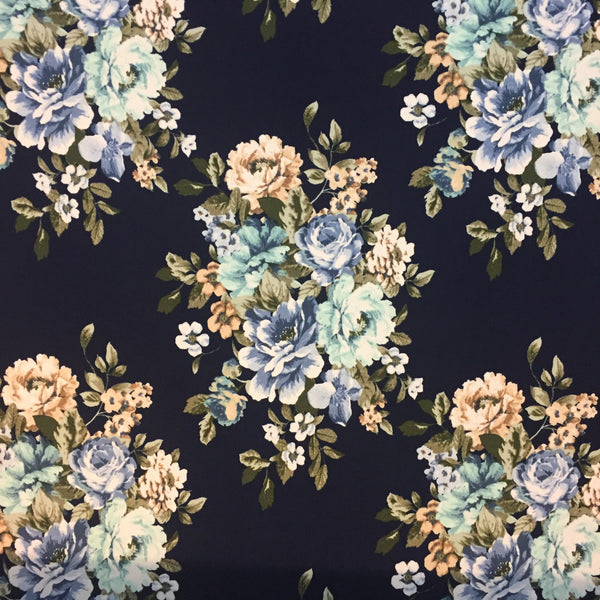 Bouquet Double Brushed Poly Spandex ~ Navy