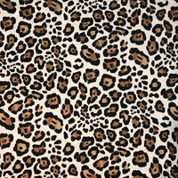 Cream Leopard Animal Print Brushed Poly Spandex