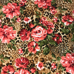 Animal Print/Roses Double Brushed Poly Spandex ~ Coral