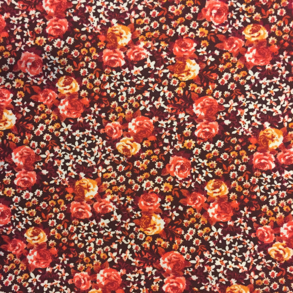 Small Floral Double Brushed Poly Spandex ~ Coral