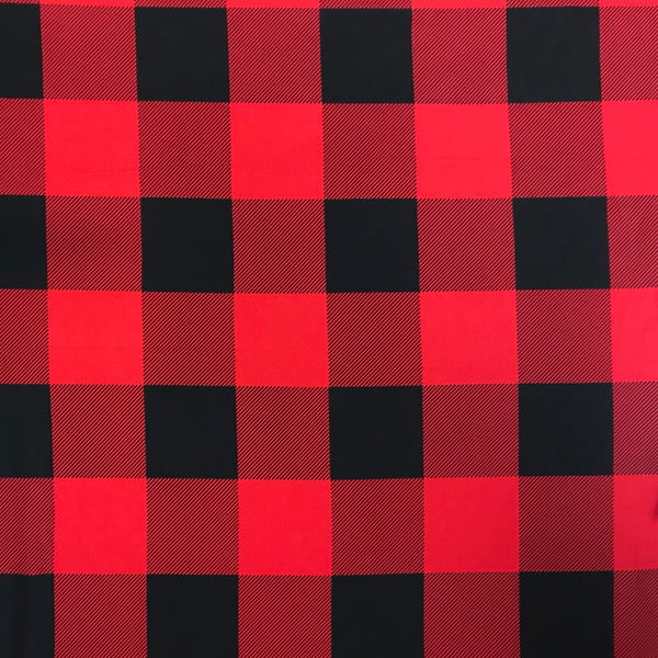 Red Buffalo Plaid Print Brushed Poly Spandex