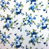 Denim Roses Double Brushed Poly Spandex ~ Blue/Ivory