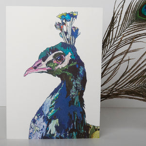 'Peacock Blue' - Greetings Card