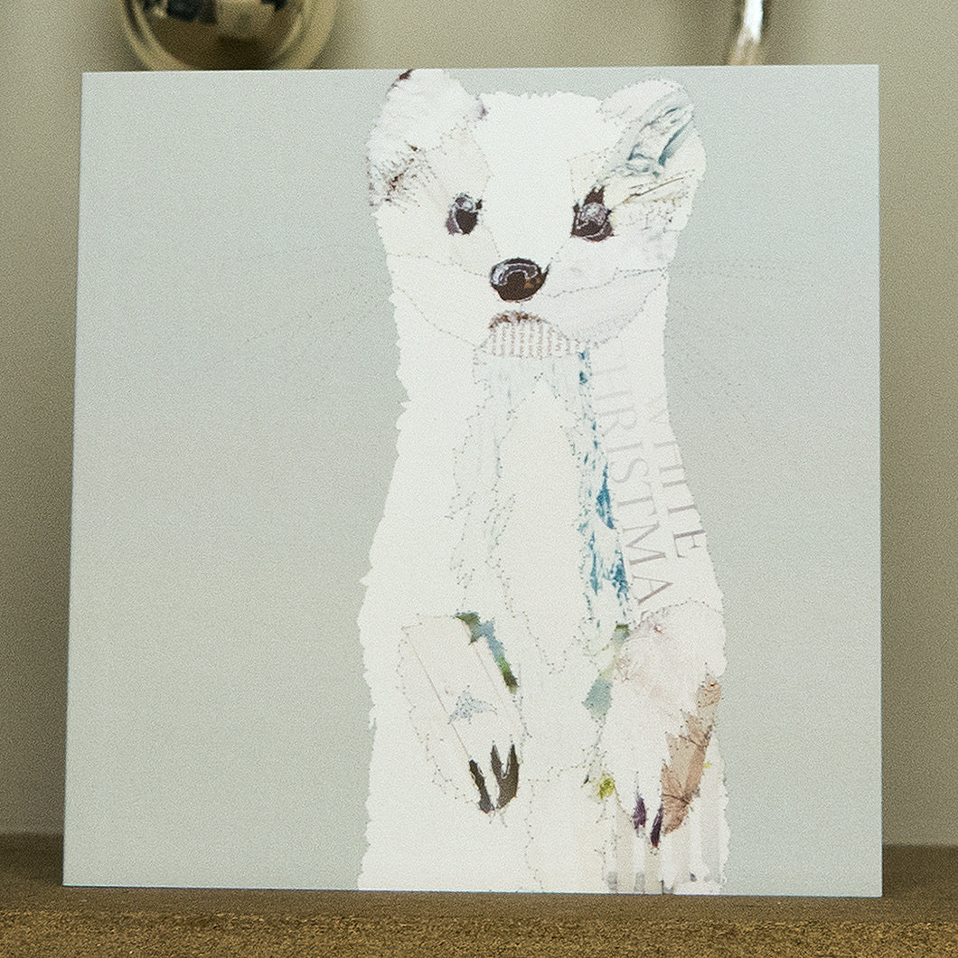 'White Stoat' - Christmas Card - CKX16