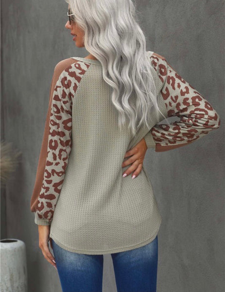 Leopard Sleeved Waffle Top