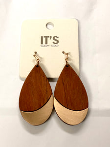 Wood Teardrop Earrings