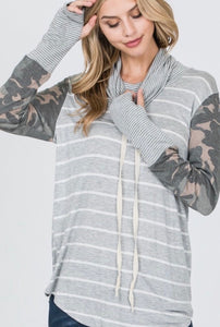 Camo and Stripes long sleeve