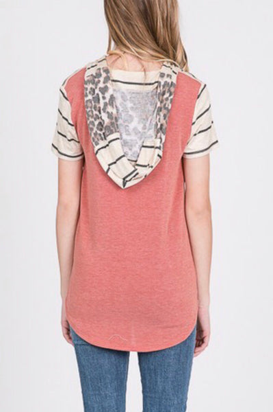 Hooded Leopard Block Tee