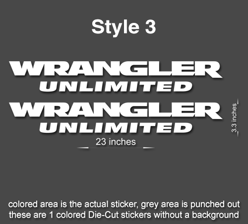 2 x 23 wrangler decal set jeep stickers hood fender tj jk cj yj rubicon style 3 60523 wrangler 3 23 x 3 3