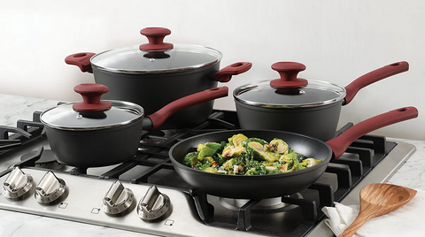 Gibson Home Marengo Cookware Set, 7 Piece, Red