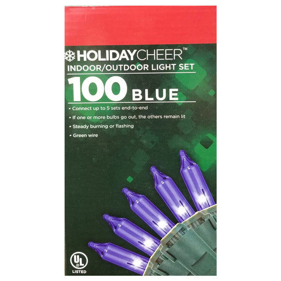 6 Boxes of 100 Blue Indoor/Outdoor Christmas Lights Set $2.98 ea.