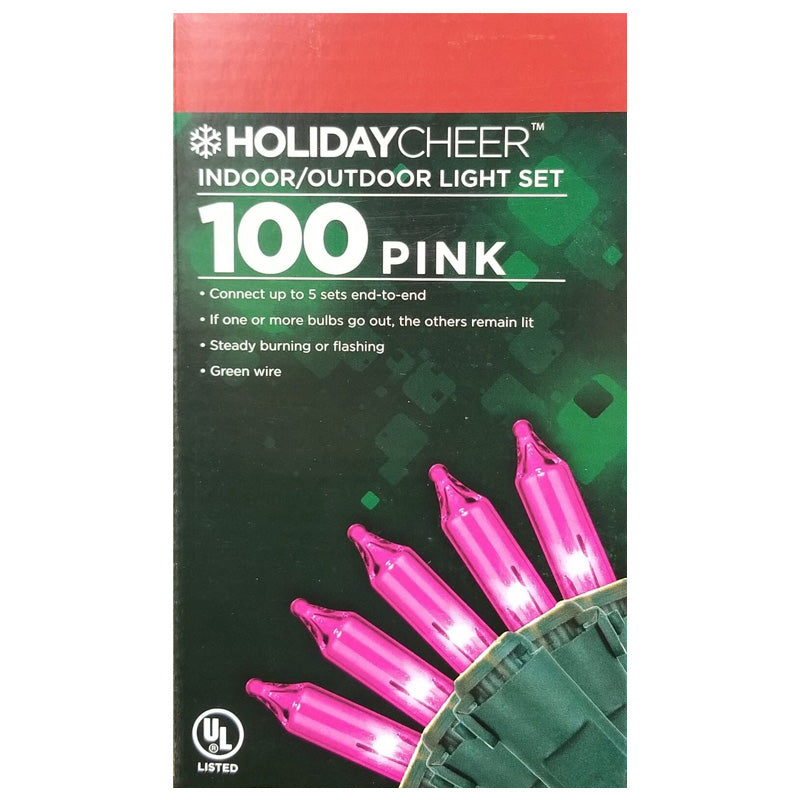 6 Boxes of 100 Pink Indoor/Outdoor Christmas Light Set $2.98 ea.