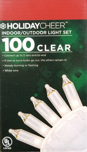 6 Boxes of Indoor/Outdoor White Cable 100 Clear Christmas Light Set $2.98 ea.