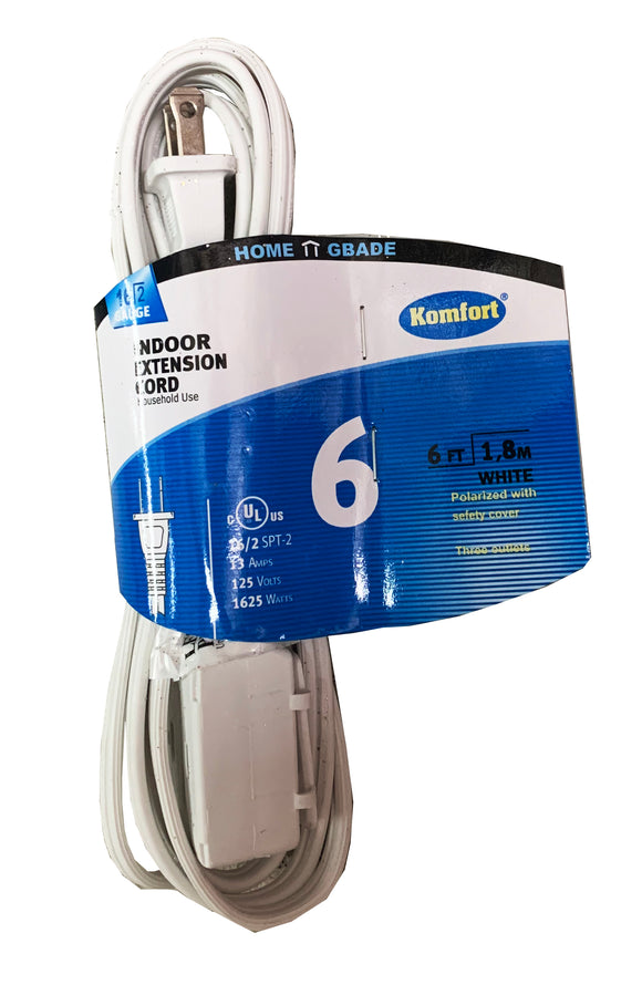 6 feet UL Extension Cord (Brown or White)