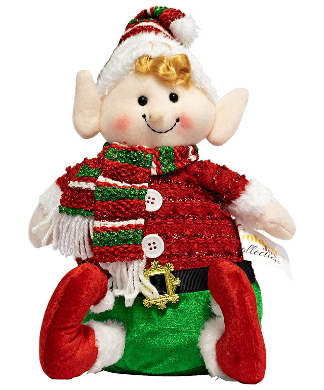 Sitting Christmas Plush Elf 11""