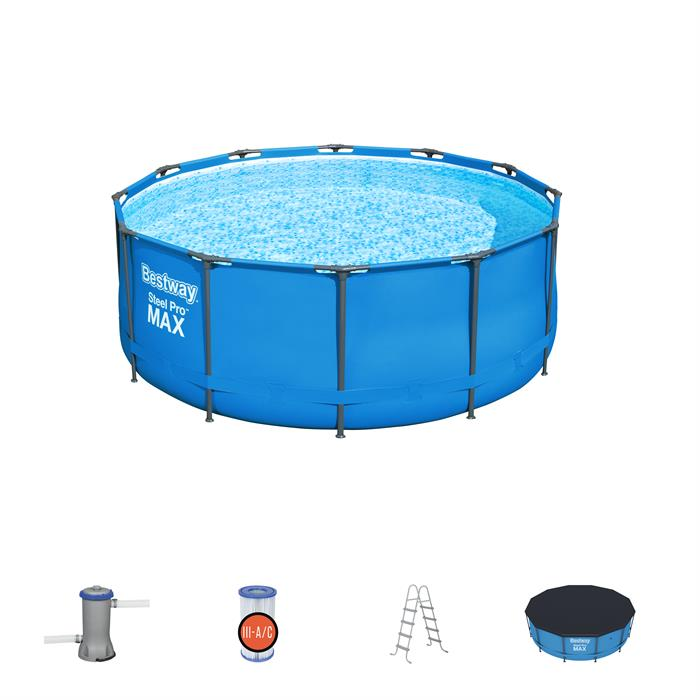 "Best Way Steel Pro Max 3.66m (12' x 48"") Outdoor Swimming Pool"