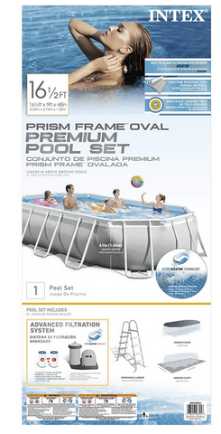 16.6FT x 9FT x 48in Prism Frame Oval Pool Set