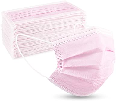 50-pack of Protective Three Layer Face Masks - Pink