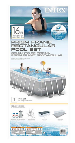 Intex 16 Ft x 8ft x 42 Inch Prism Frame Rectangular Pool Set