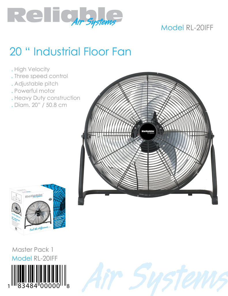 "Reliable Brand 20"" Industrial Ground Fan"