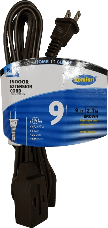 9 Feet UL Extension Cord (Brown or white)