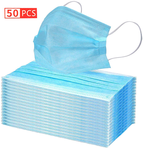 50-pack of Protective Three Layer Face Masks