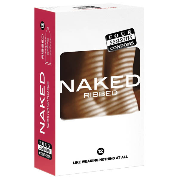 Naked Ribbed - Ultra Thin Ribbed & Lubed Condoms - 12 Pack
