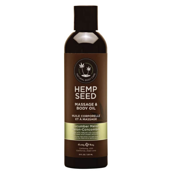 Hemp Seed Massage & Body Oil - Cucumber Melon Scented - 237 ml Bottle