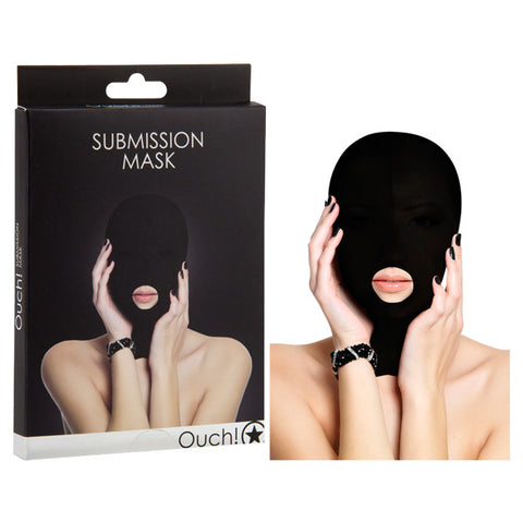 Ouch! Submission Mask - Black Hood Mask