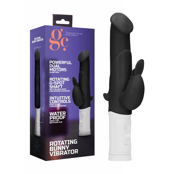 GC. Rotating Bunny Vibrator - Black 22.5 cm Rabbit Vibrator