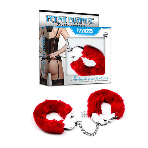 Fetish Pleasure Fluffy Hand Cuffs - Red Fluffy Restraints