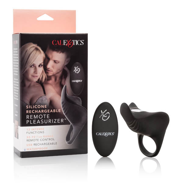 Silicone Rechargeable Remote Pleasurizer - Black USB Rechargeable Vibrating Cock Ring with Remote Control