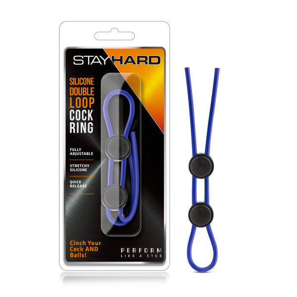 Stay Hard - Silicone Double Loop Cock Ring - Blue Adjustable Lasso Cock Ring