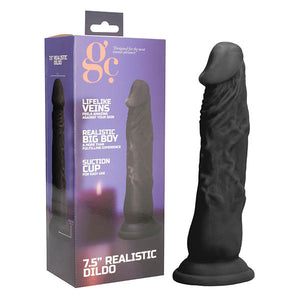 GC. 7.5 Inch Realistic Dildo - Black 20 cm Dong