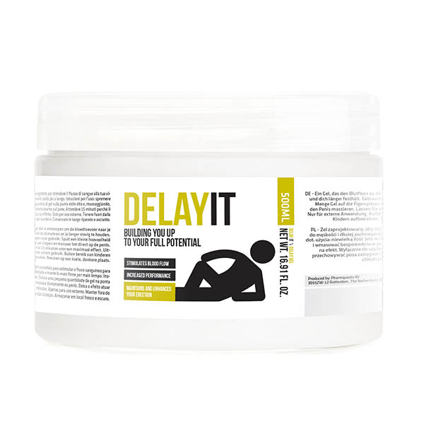 Pharmquests Delay It - Water Based Male Delay Gel - 500 ml Tub