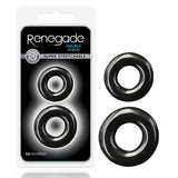 Renegade - Double Stack - Black Cock Rings - Set of 2