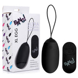 Bang! XL Silicone Vibrating Egg - Black XL USB Rechargeable Egg with Wireless Remote